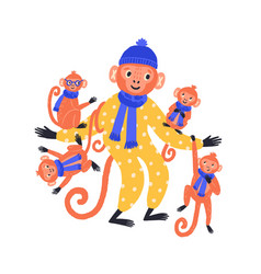 adorable hand drawn monkey family in funny costume vector image