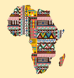 Africa continent map ornate with ethnic pattern vector