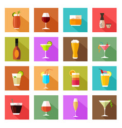 Alcohol drink glasses icons vector
