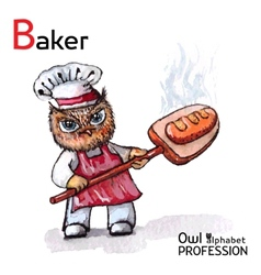 Alphabet professions Owl Baker character on a vector