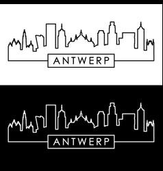 Antwerp skyline linear style editable file vector