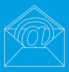 At sign mail in envelope icon outline style vector