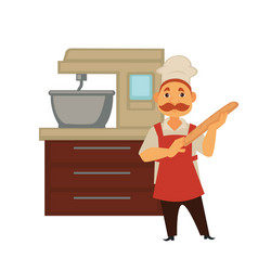 baker man in bakery shop baking bread or kneading vector image