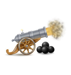 Big cannon and cannonballs vector