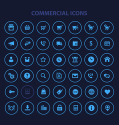 big commercial icon set trendy flat icons vector image