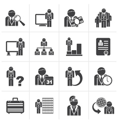 Black Business management and hierarchy icons vector image