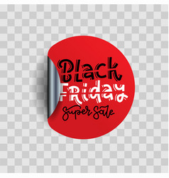 black friday sale round sticker realistic vector image