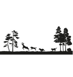 black silhouettes of forest animals vector image