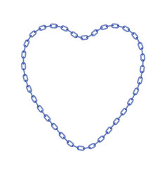 blue chain in shape of heart vector image