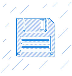 Blue floppy disk for computer data storage line vector