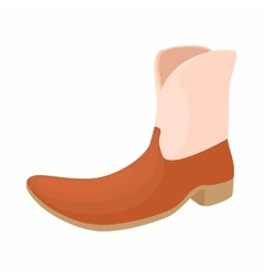 Brown leather female boots icon cartoon style vector