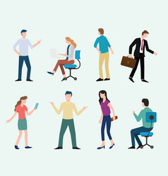 business man and woman set collection with modern vector image