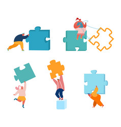 business people with huge puzzle pieces set vector image