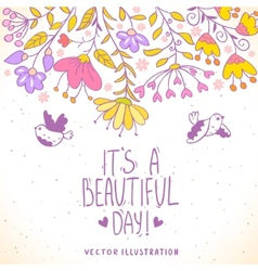 card birds and flowers vector image