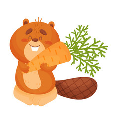 Cartoon beaver with carrots vector