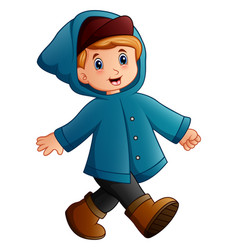 Cartoon boy in blue winter jacket walking vector