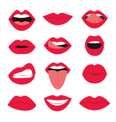 cartoon sexy woman mouth icon set vector image