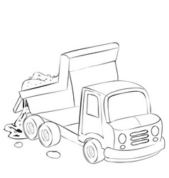 cartoon sketch dump truck brought sand and pours vector image