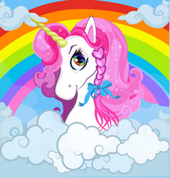 Cartoon white princess unicorn portrait on vector
