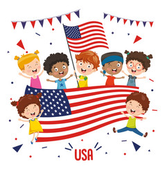 children holding usa flag vector image