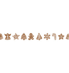Christmas border with gingerbread cookies hand vector