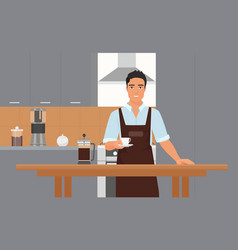 coffeehouse kitchen interior with smiling young vector image