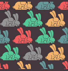 colored rabbit seamless pattern hare ornament vector image