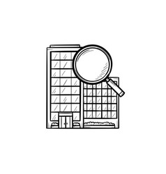 Condominium with magnifying glass hand drawn vector