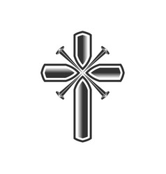 Cross christ pierced with nails vector