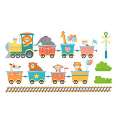 cute animals on train happy animal in railroad vector image