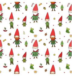 Cute cartoon gnomes new year s pattern christmas vector