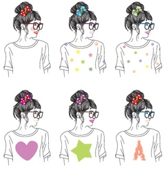Cute girl pattern vector