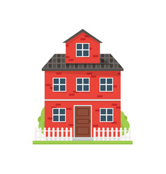cute red brick house with white fence and green vector image