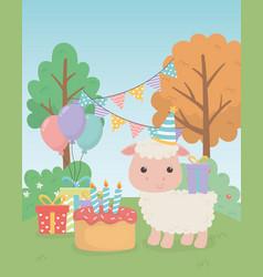 cute sheep animal farm in birthday party scene vector image