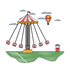 Doodle mechanical swing chair and air balloon with vector