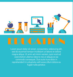 education flat banner vector image