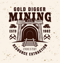 entrance in mine shaft vintage emblem vector image