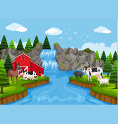 Farm scene with waterfall vector