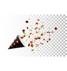 Festive black and red party popper vector
