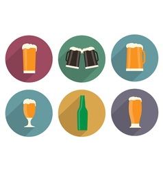Flat beer icons with long shadow vector image