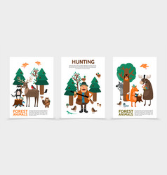 flat hunting posters vector image