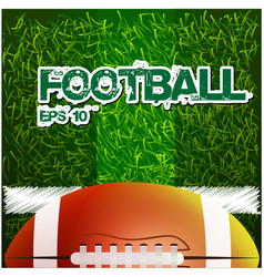 football text rugby ball grass background i vector image