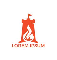Fort torch logo design concept vector