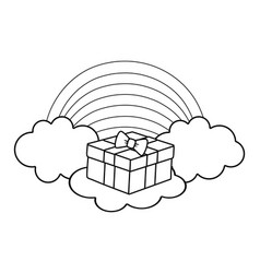 Giftbox on clouds in black and white vector