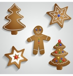 Ginger bread man tree and stars vector