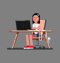 Girl hacker in work vector