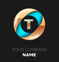 golden letter t logo symbol in blue-golden circle vector image