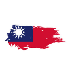 Grunge brush stroke with taiwan national flag vector