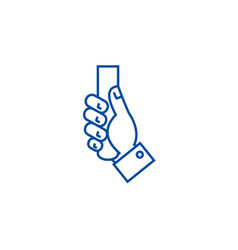 hand holding line icon concept hand vector image