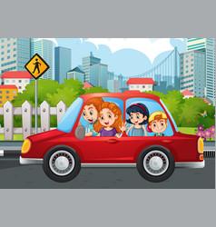 happy family in car vector image